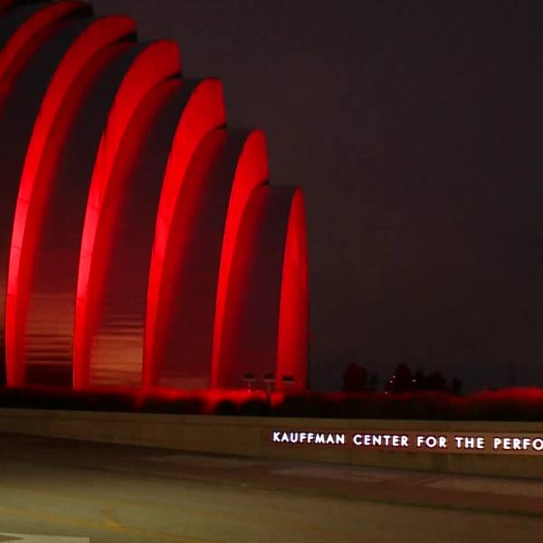 Picture of Kauffman Center lit up red