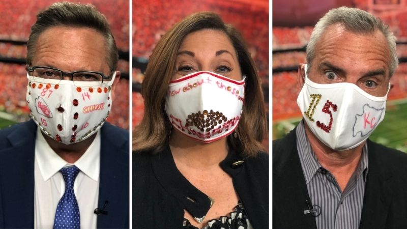Picture of Nick, Kim and Mark wearing Chiefs masks