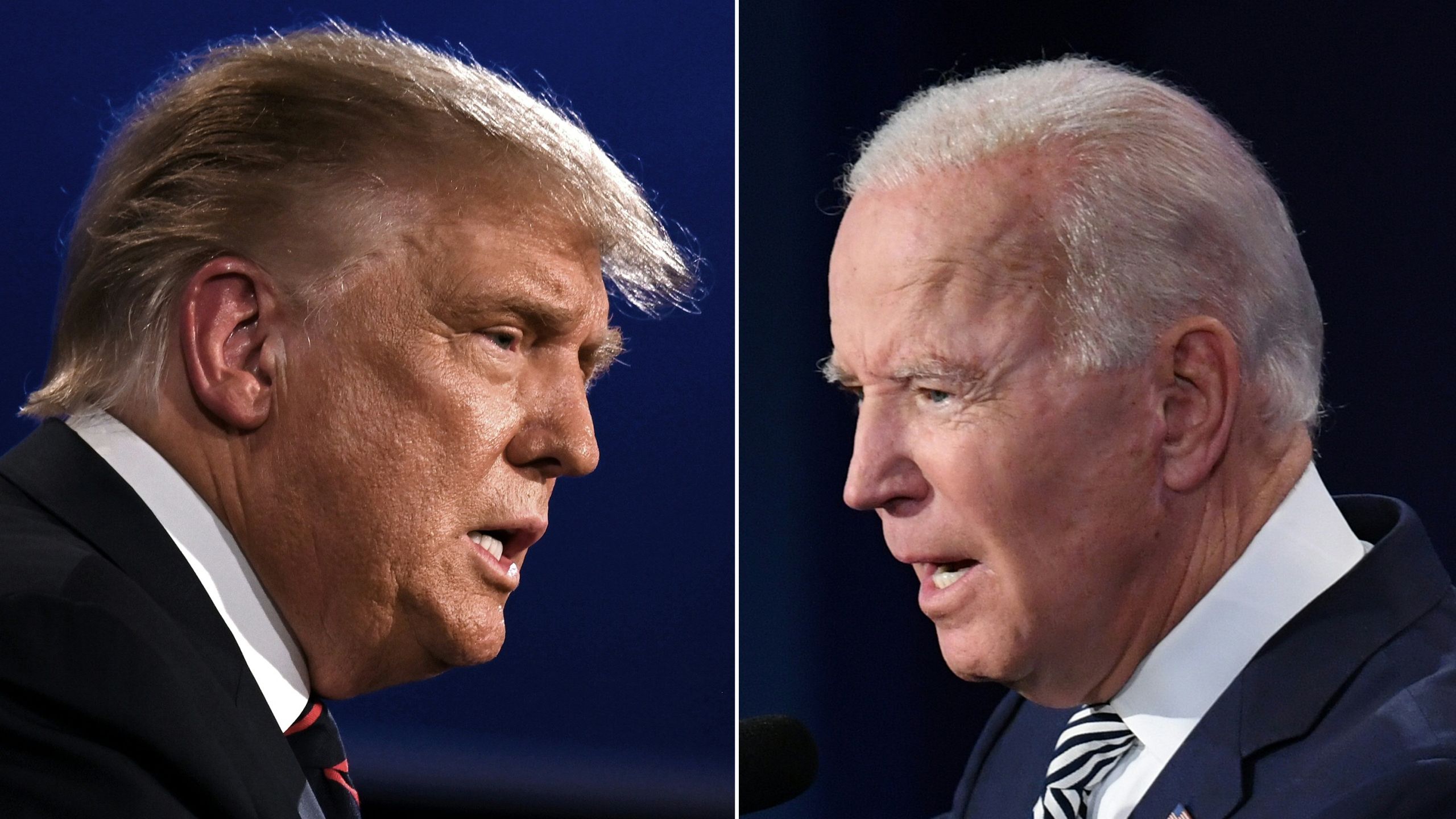 Split picture of Trump and Biden