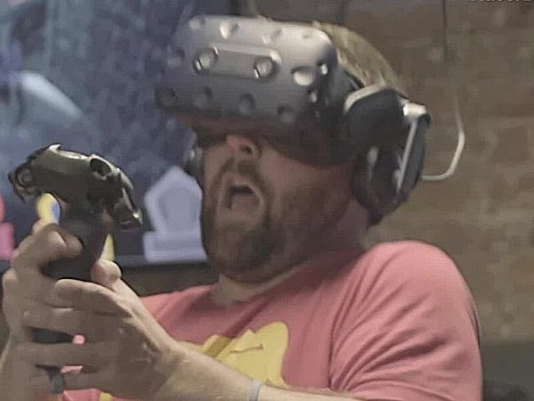 Picture of player getting scared in VR game