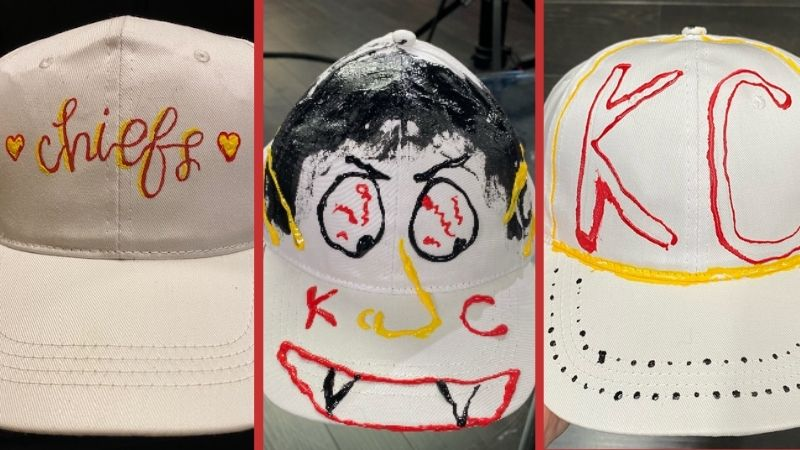 3 pictures of DIY chiefs hat designs