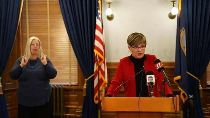 Picture of Gov. Laura Kelly during daily briefing