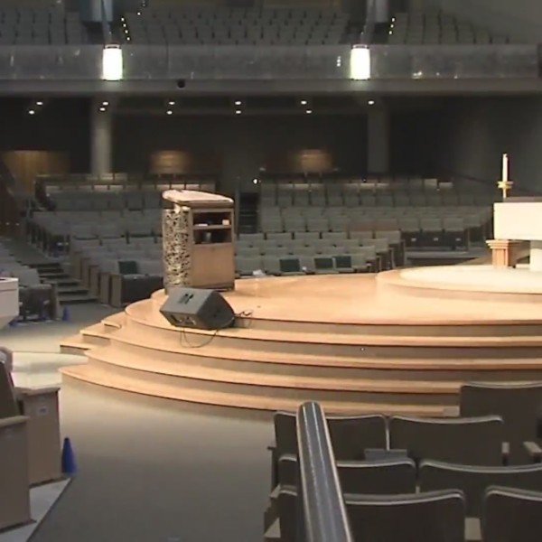 Picture of empty worship center at Church of the Resurrection