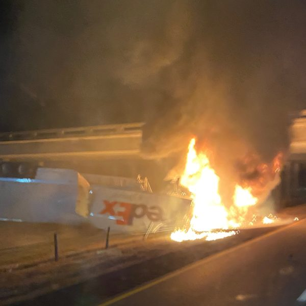 Picture of FedEx truck on fire