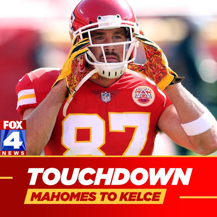 "Graphic of Kelce with word ""touchdown"""