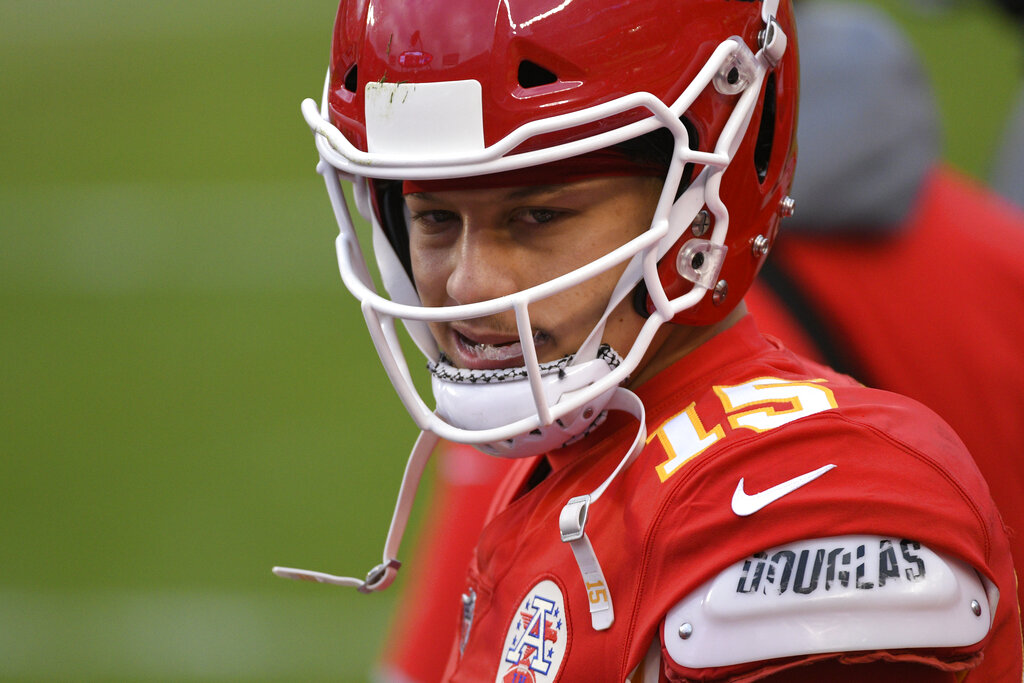 Picture of Mahomes in helmet