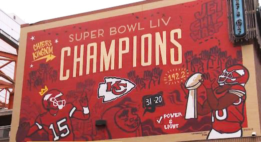 "Picture of the ""Champions"" mural at Power & Light"