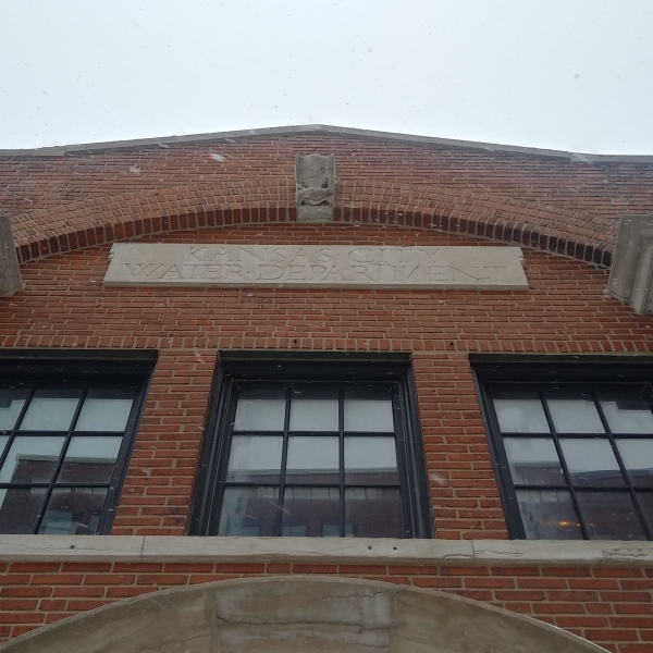 Picture of historic Kansas City Water Department building front sign