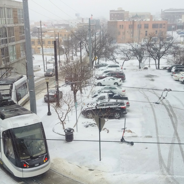 Picture of KC Streetcar in snow