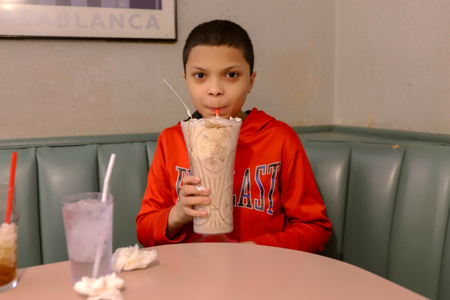 Picture of Ben slurping a shake