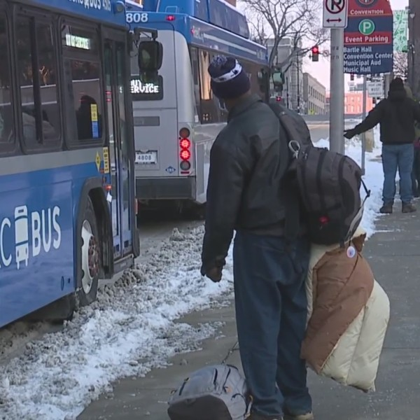 Picture of Ride KC bus at homeless shelter