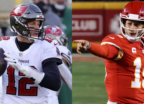 Tom Brady and Patrick Mahomes split image