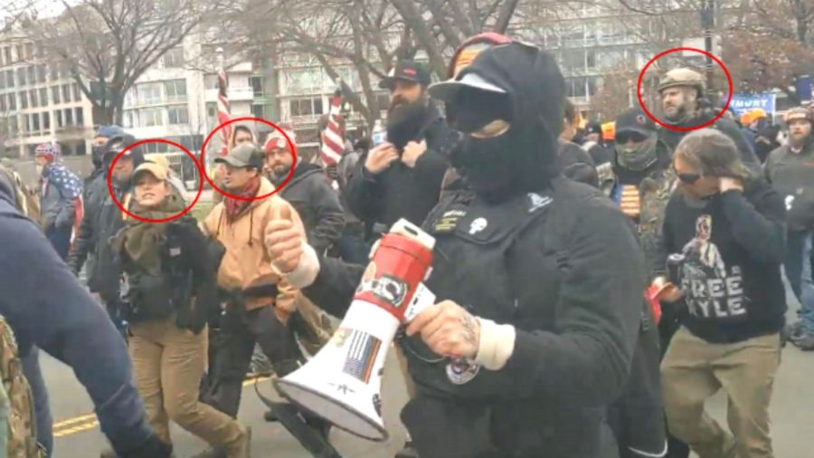 Picture of rioters marching on the Capitol, including identified KC Proud Boys