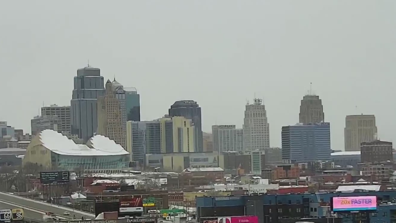 Picture of snowy downtown Kansas City