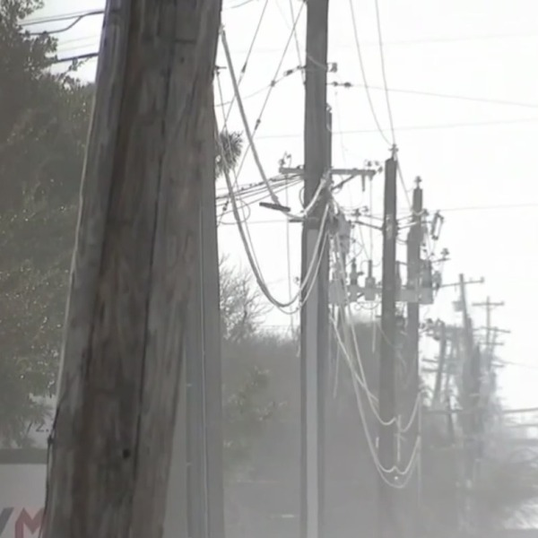 Picture of power poles in snow and wintry weather