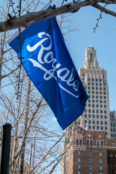 Picture of new Royals flag at Power & Light.