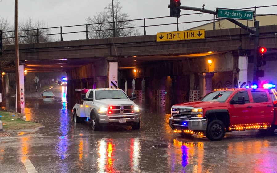 Picture of flood water at 13th and Hardesty
