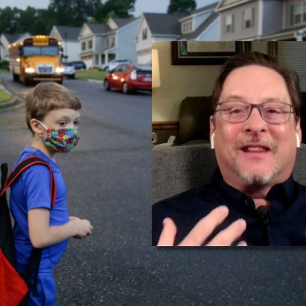 Picture of kid going back to school and Dr. Crenshaw
