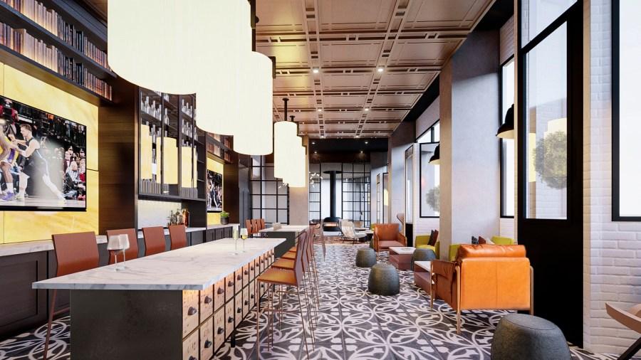 Rendering of Midland Lofts coffee bar