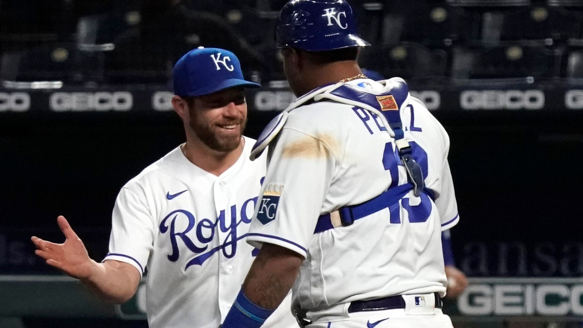 Picture of Greg Holland celebrating with Salvador Perez