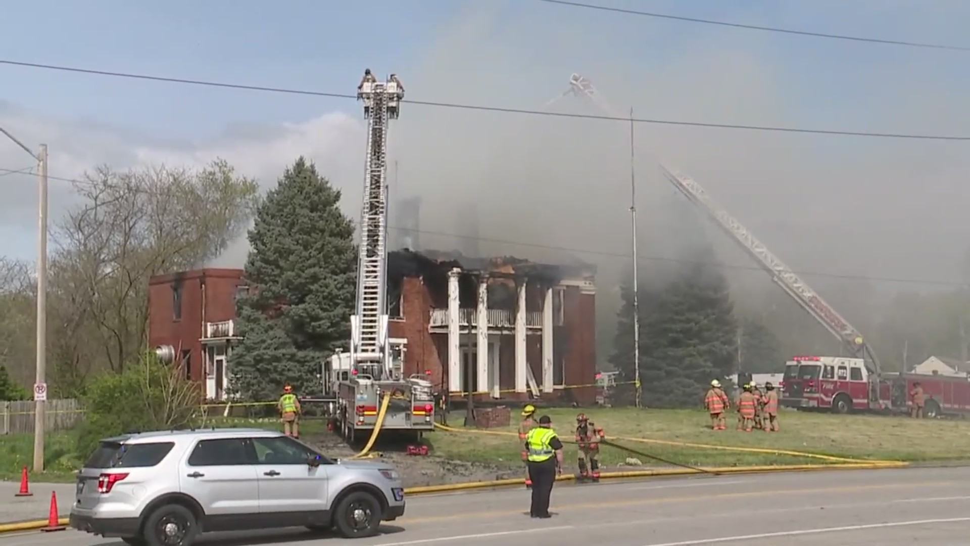 Fire at Thompson House in Independence, Missouri