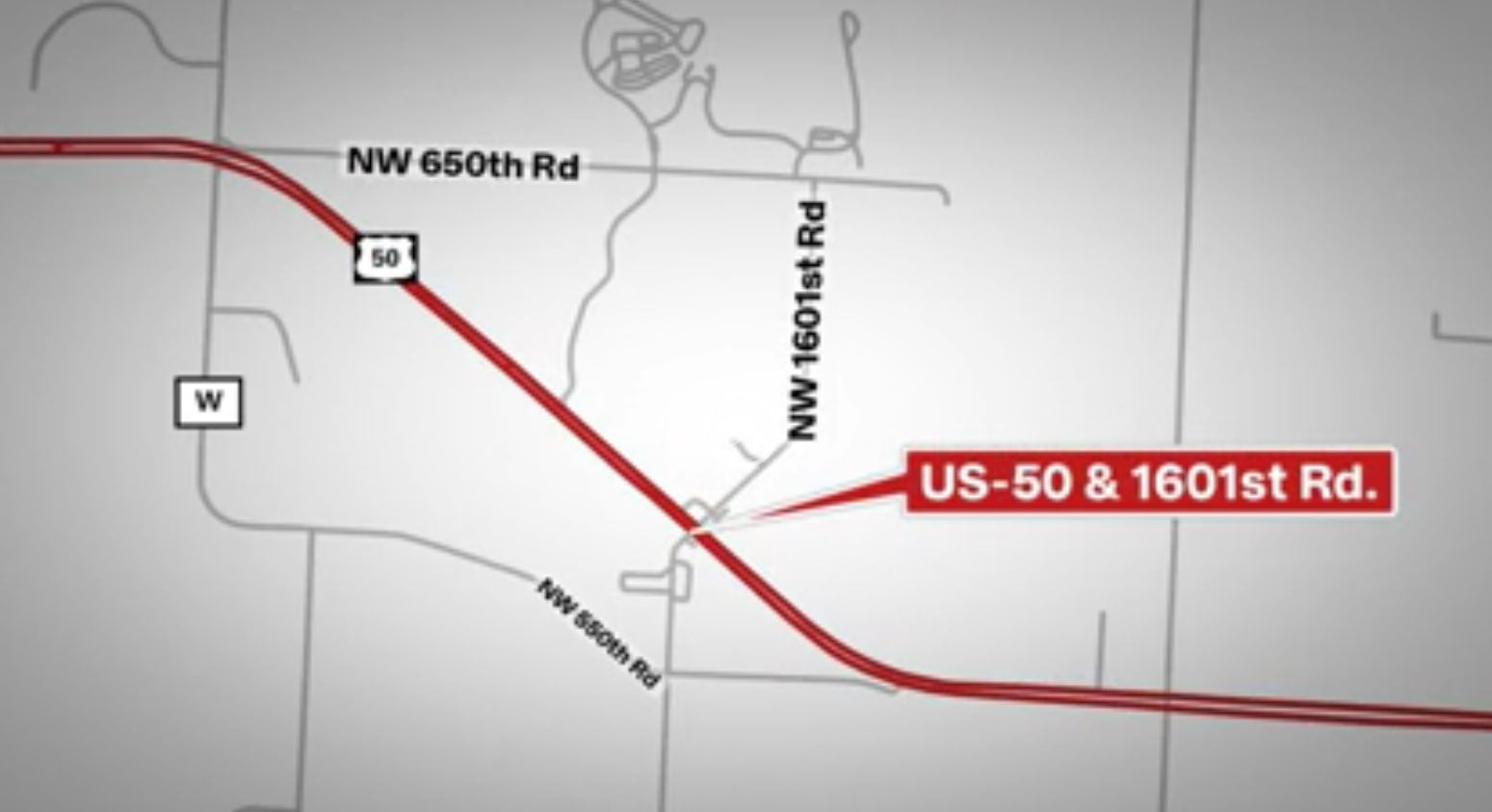 50 Highway and 1601 map