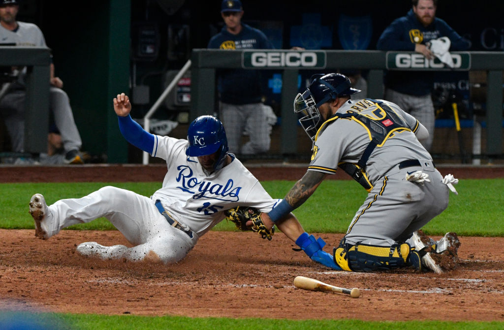 Picture of Merrifield sliding into home