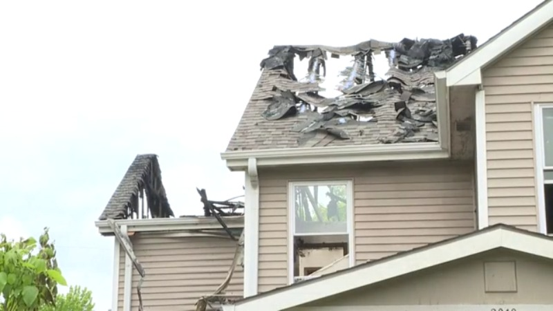 Picture of burned roof
