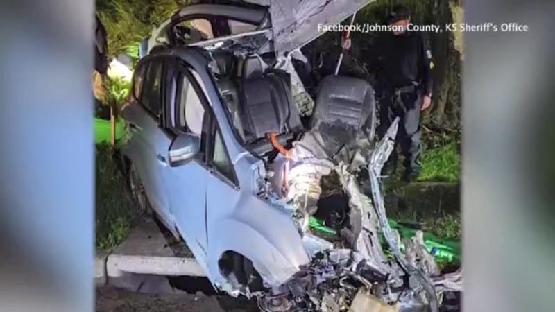 Picture of car split in half after crash