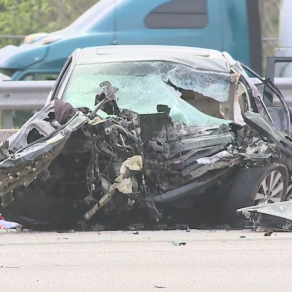 Picture of smashed car on I-49 5.3.21