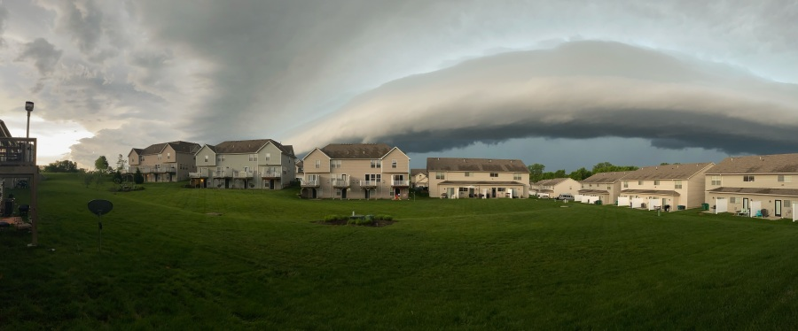 Panorama photo of an incoming shelf cloud near 150 Highway from Amy in Lee's Summit on May 27, 2021.