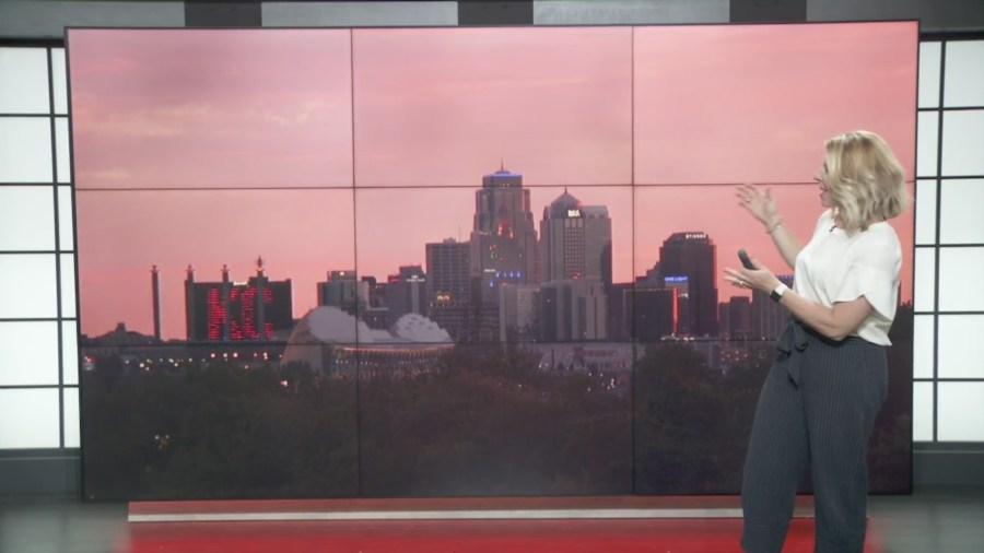 Picture of pink sky above Kansas City skyline via FOX4