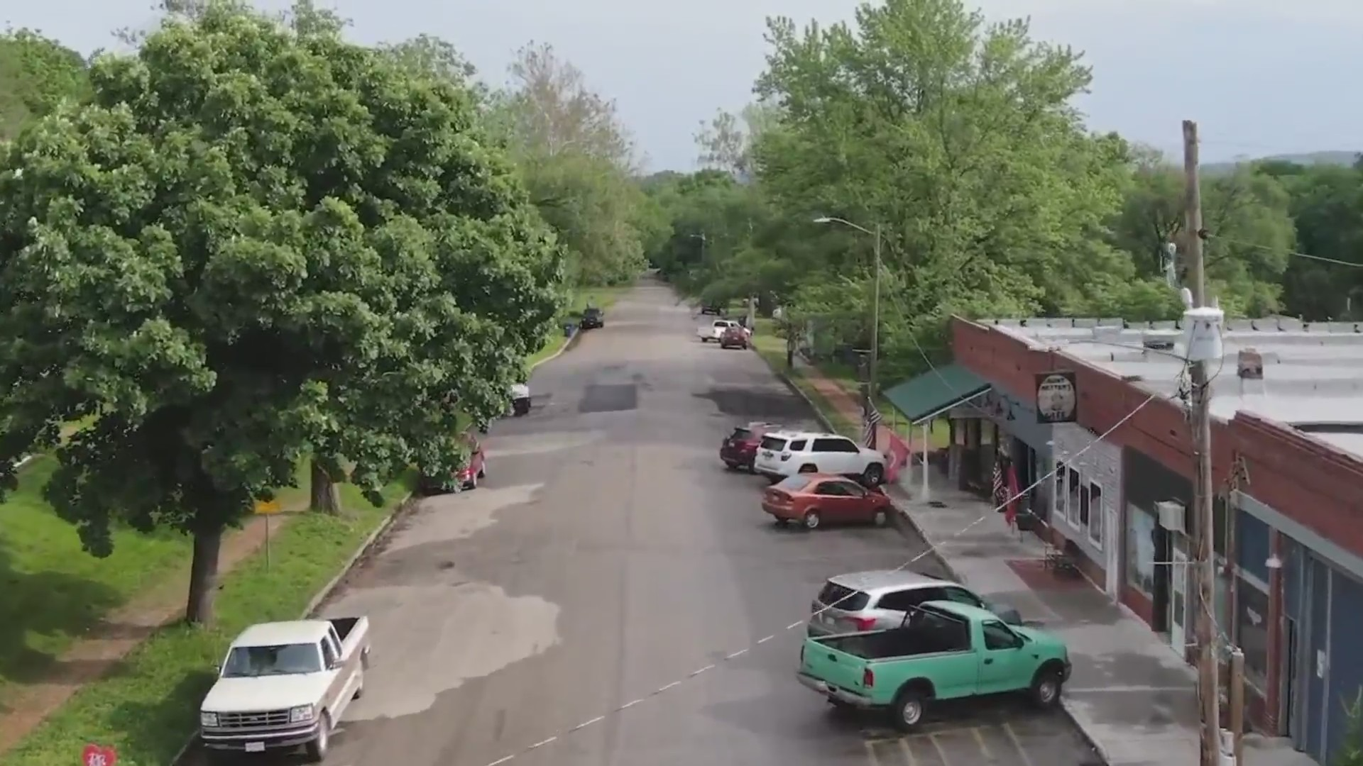 Drone picture of downtown Lecompton