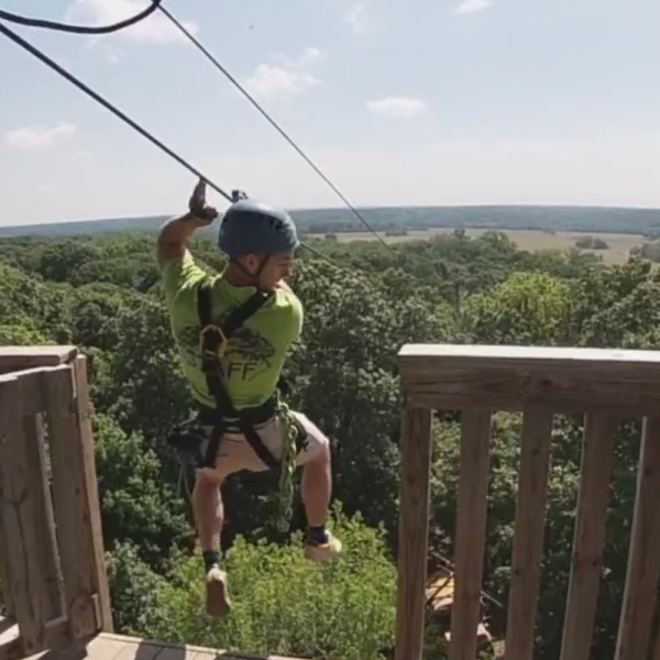 Picture of man zip lining at Zip KC