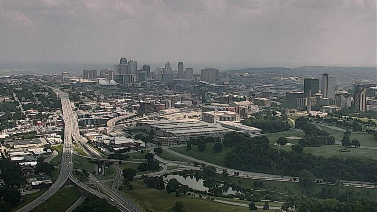 Downtown Kansas City, Missouri seen on towercam midday on Aug. 2, 2021.